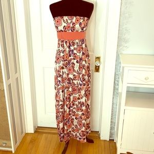 Floral strapless dress size large